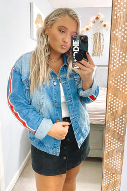 Rennley Striped Tape Sleeve Denim Jacket - Madison and Mallory