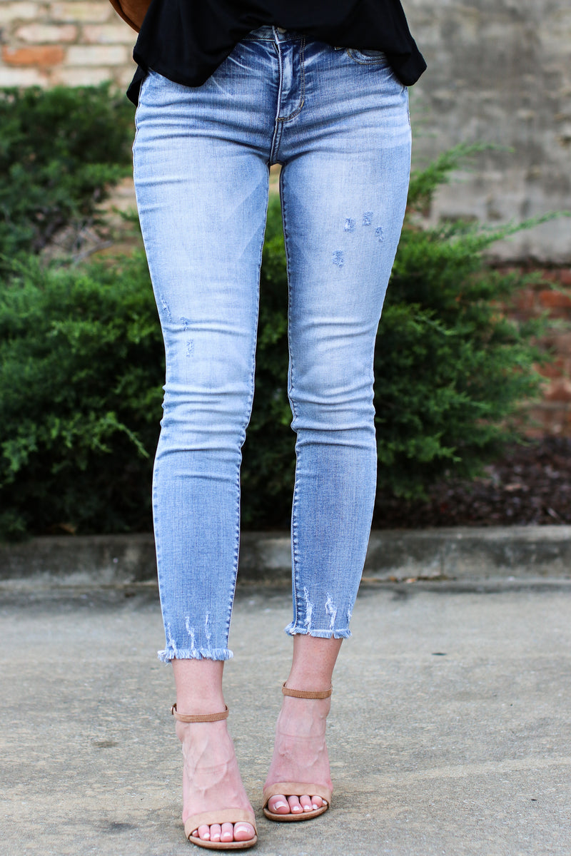 1 / MD Denim Close for Comfort Distressed Skinny Jeans - Madison and Mallory