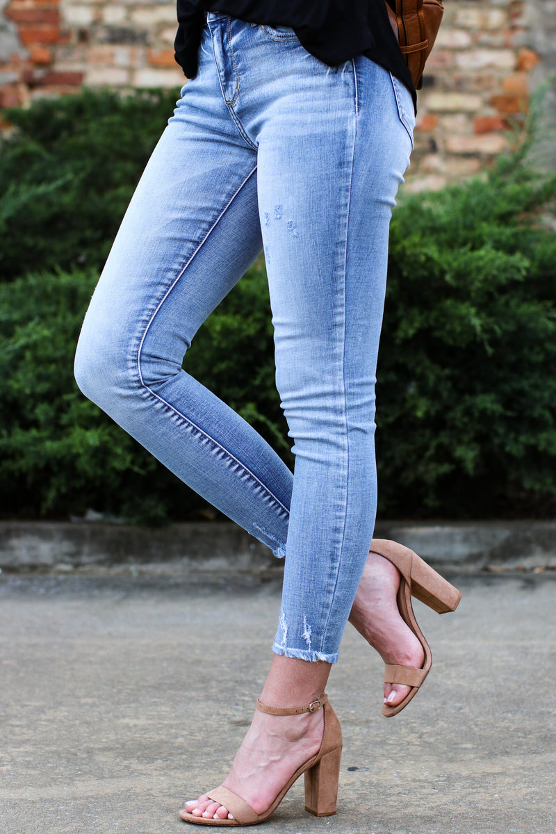 Close for Comfort Distressed Skinny Jeans - Madison and Mallory