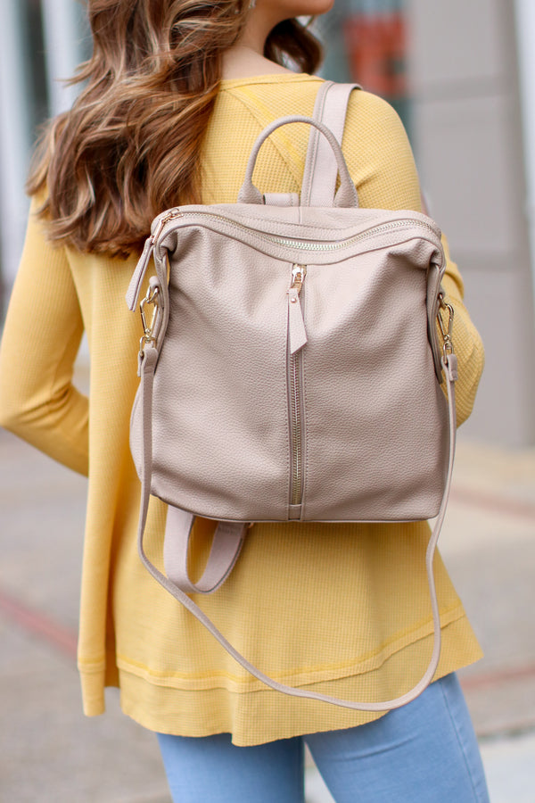 Natural Vivienne Faux Leather Backpack - Natural - Madison and Mallory