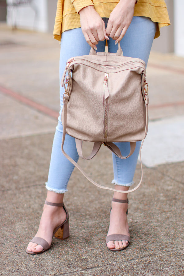 Vivienne Faux Leather Backpack - Natural - Madison and Mallory