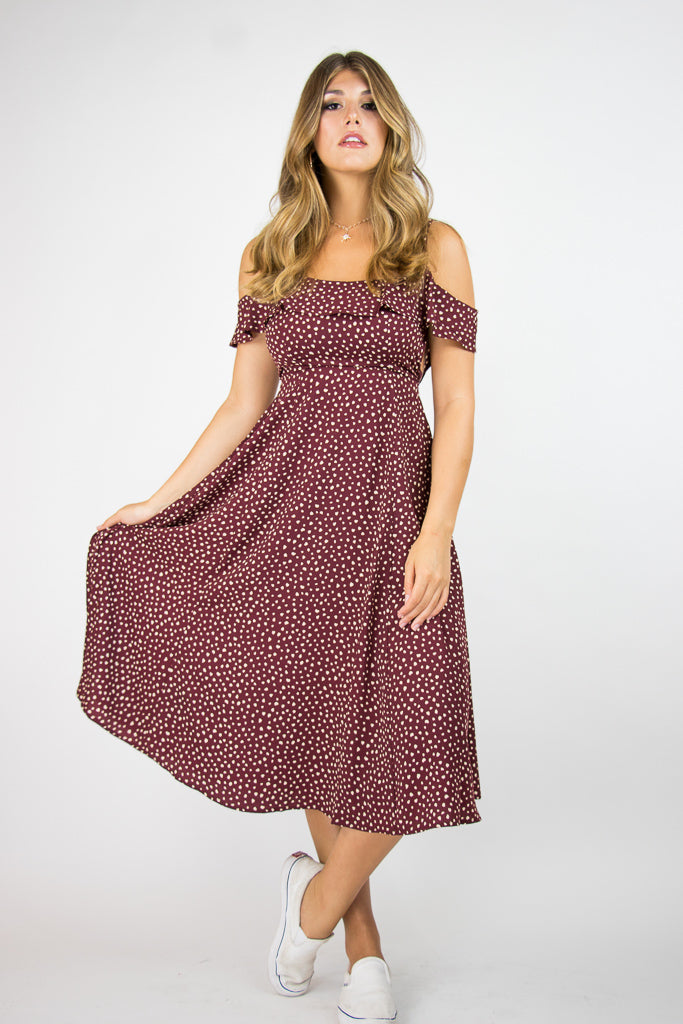 S / Burgundy Priscilla Dress - Madison + Mallory