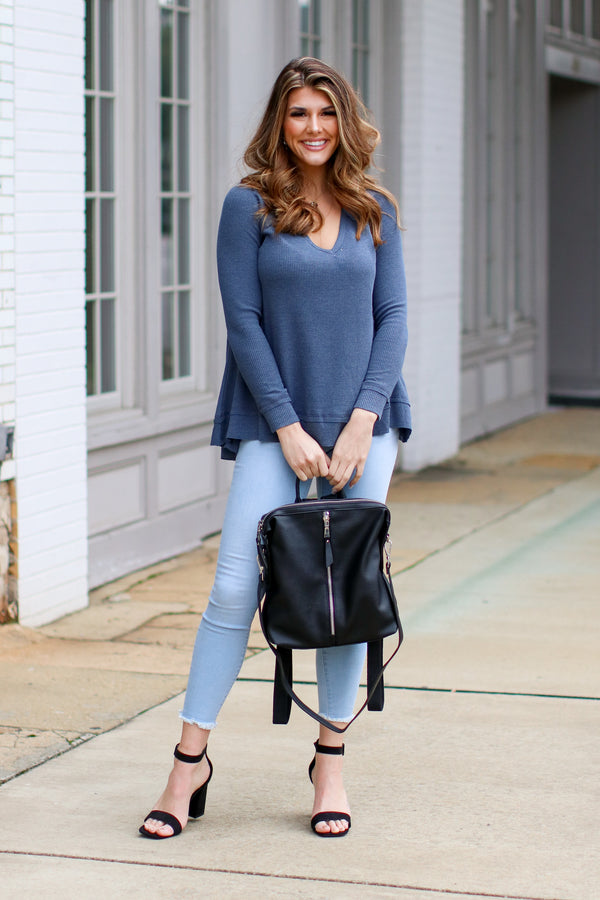 Shep Flowy Waffle Knit Top - Navy - Madison and Mallory