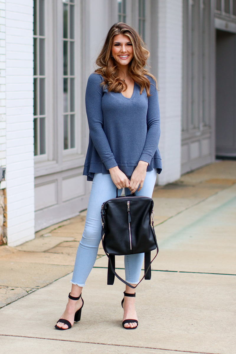 Shep Flowy Waffle Knit Top - Navy - Madison + Mallory