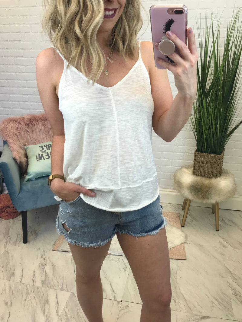 S / White Flowy V-Neck Tank Top - Madison + Mallory