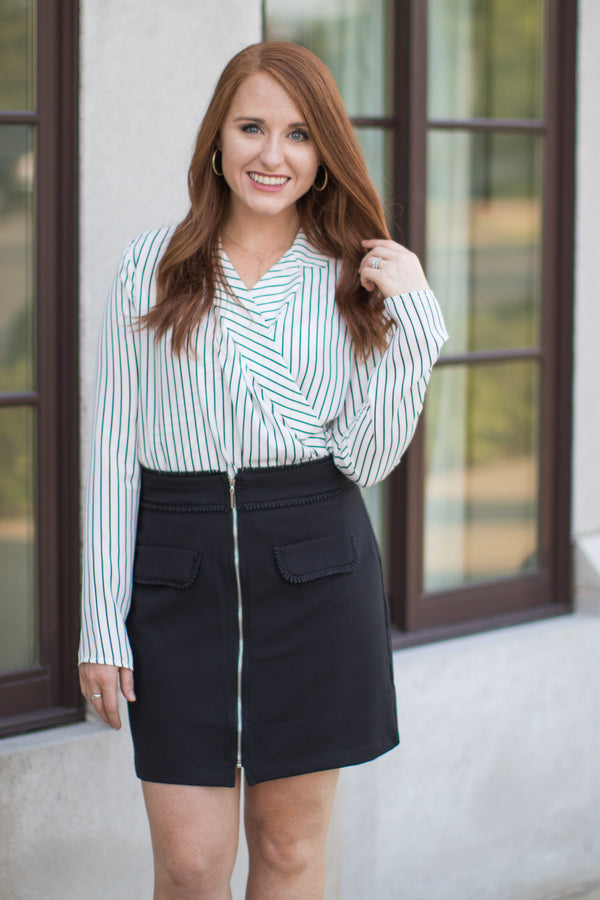 XS / Black Zipper Front Skirt - FINAL SALE - Madison + Mallory