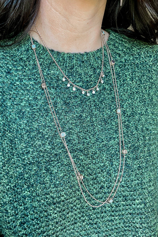 Rose Gold Naiya Layered Crystal Necklace Set - Madison and Mallory