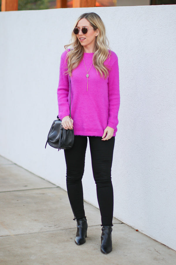 Bryson Super Soft Sweater - Fuchsia - Madison + Mallory