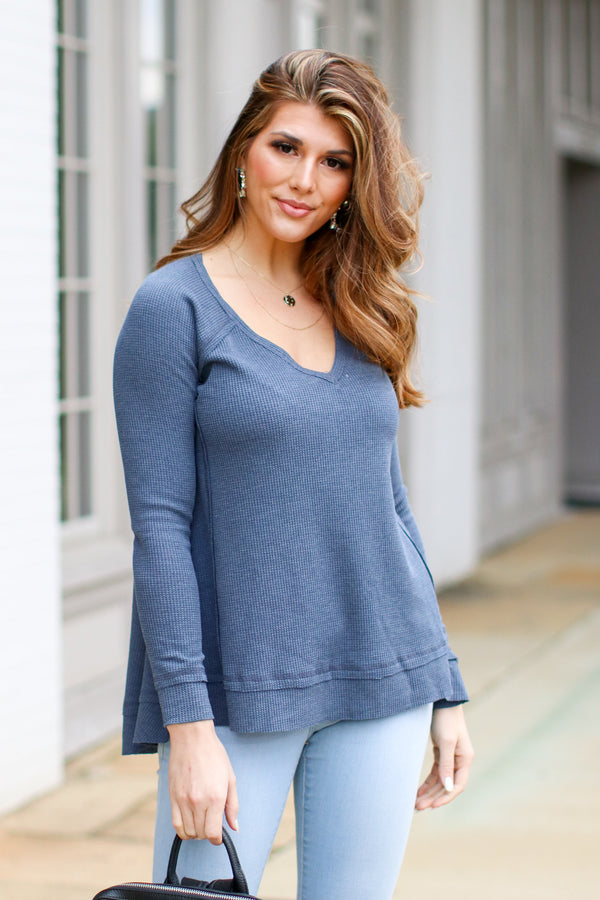 Navy / S Shep Flowy Waffle Knit Top - Navy - Madison and Mallory