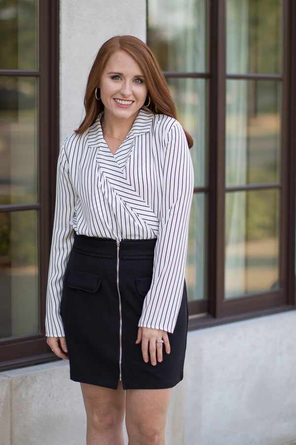 S / Black/White Annalee Striped Top - Madison + Mallory