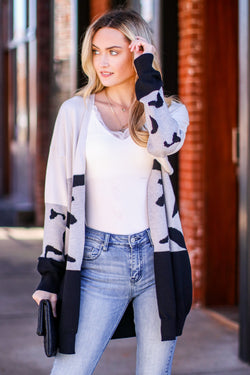 Gray / S Rove Color Block Abstract Cardigan - Madison and Mallory