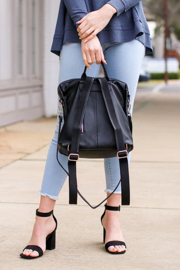 Vivienne Faux Leather Backpack - Black - Madison + Mallory