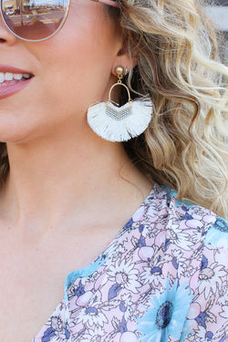 OS / Ivory Island Vista Tassel Fan Earrings - Madison + Mallory