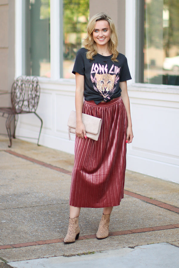 Mauve / S Showstopper Pleated Velvet Skirt - Mauve - Madison + Mallory
