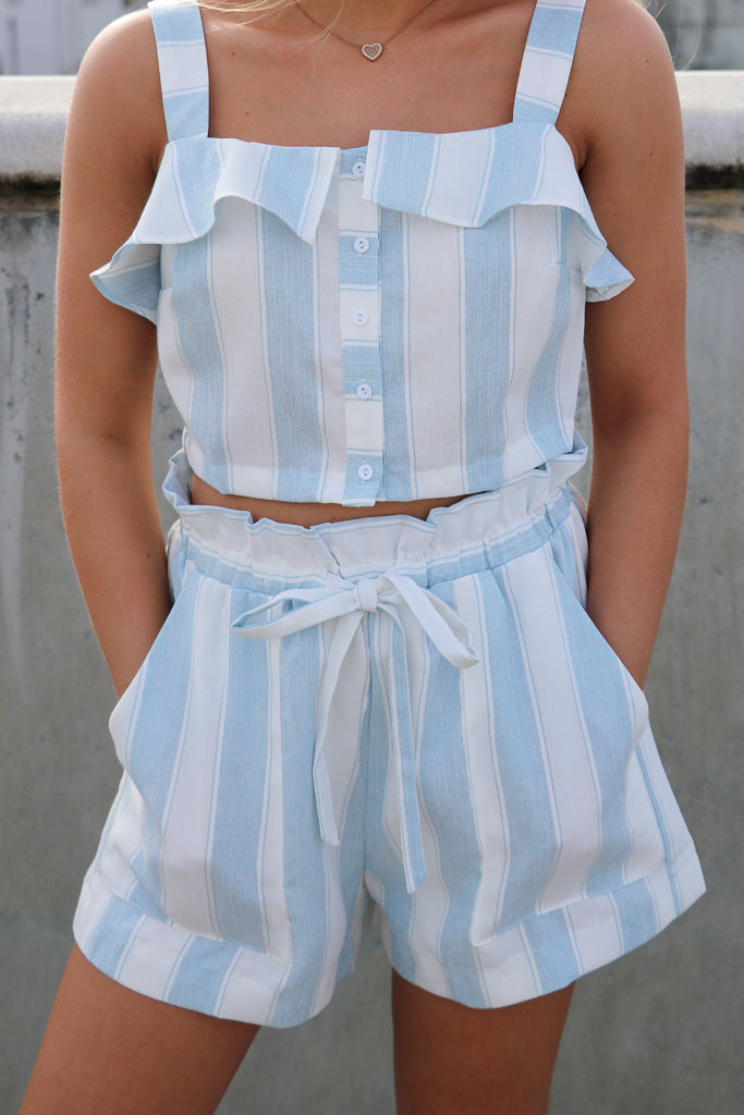 S / Blue Flowy Striped Tie Shorts - Madison + Mallory
