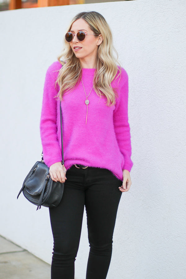 Fuchsia / S Bryson Super Soft Sweater - Fuchsia - Madison + Mallory