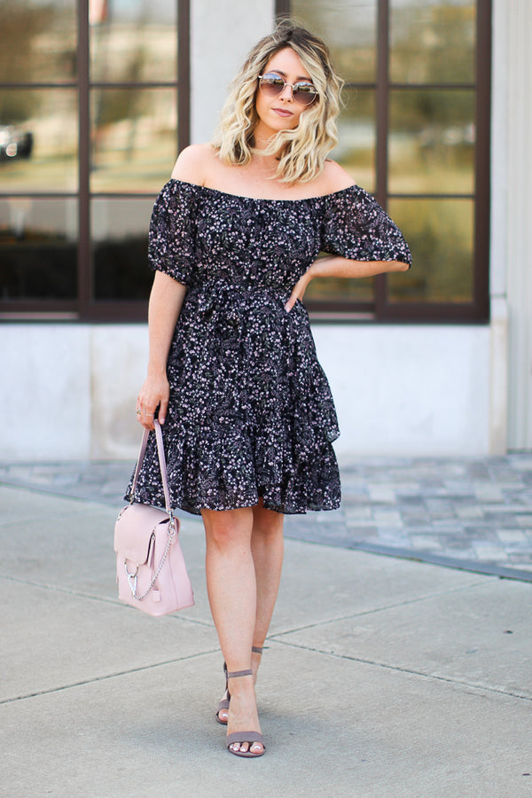 Paxton Ditsy Floral Off the Shoulder Dress - FINAL SALE - Madison + Mallory