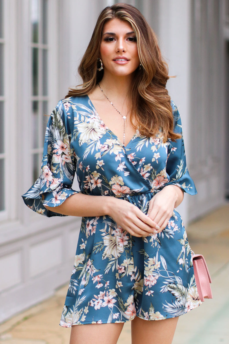S / Teal Sansa Tropical Satin Romper - Madison and Mallory