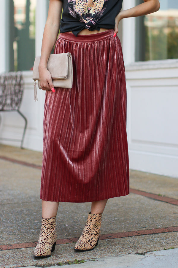 Showstopper Pleated Velvet Skirt - Mauve - Madison + Mallory