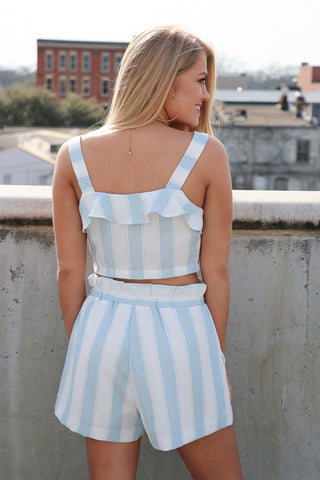 Flowy Striped Tie Shorts