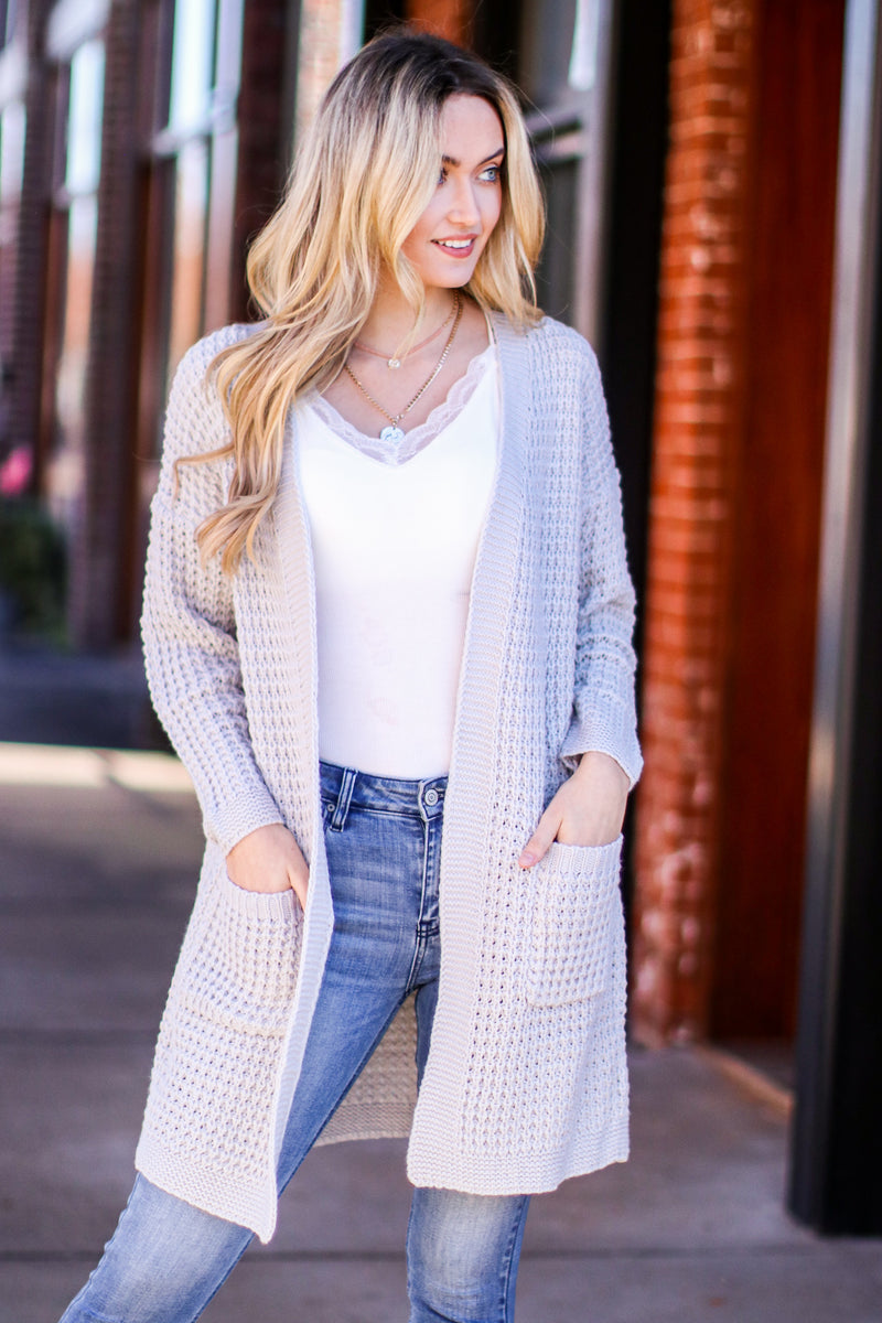 S / Gray Noted Character Long Sleeve Knit Cardigan - Madison and Mallory