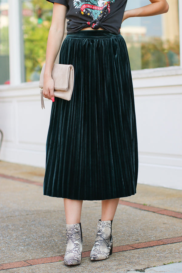 Green / S Showstopper Pleated Velvet Skirt - Green - Madison + Mallory
