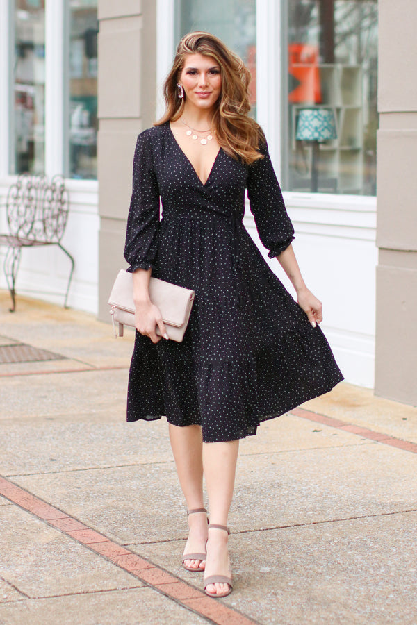 S / Black Kamber Polka Dot Wrap Dress - Madison and Mallory