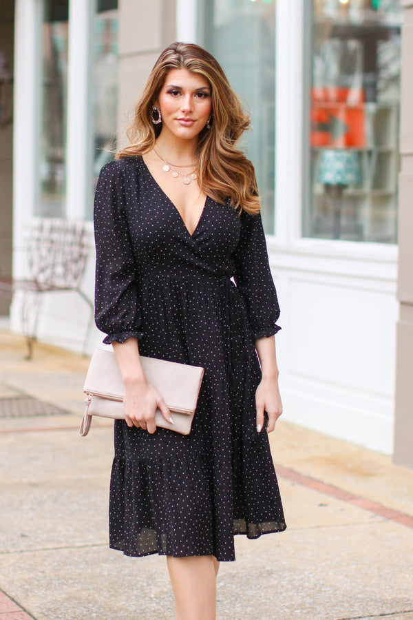 Kamber Polka Dot Wrap Dress - Madison + Mallory