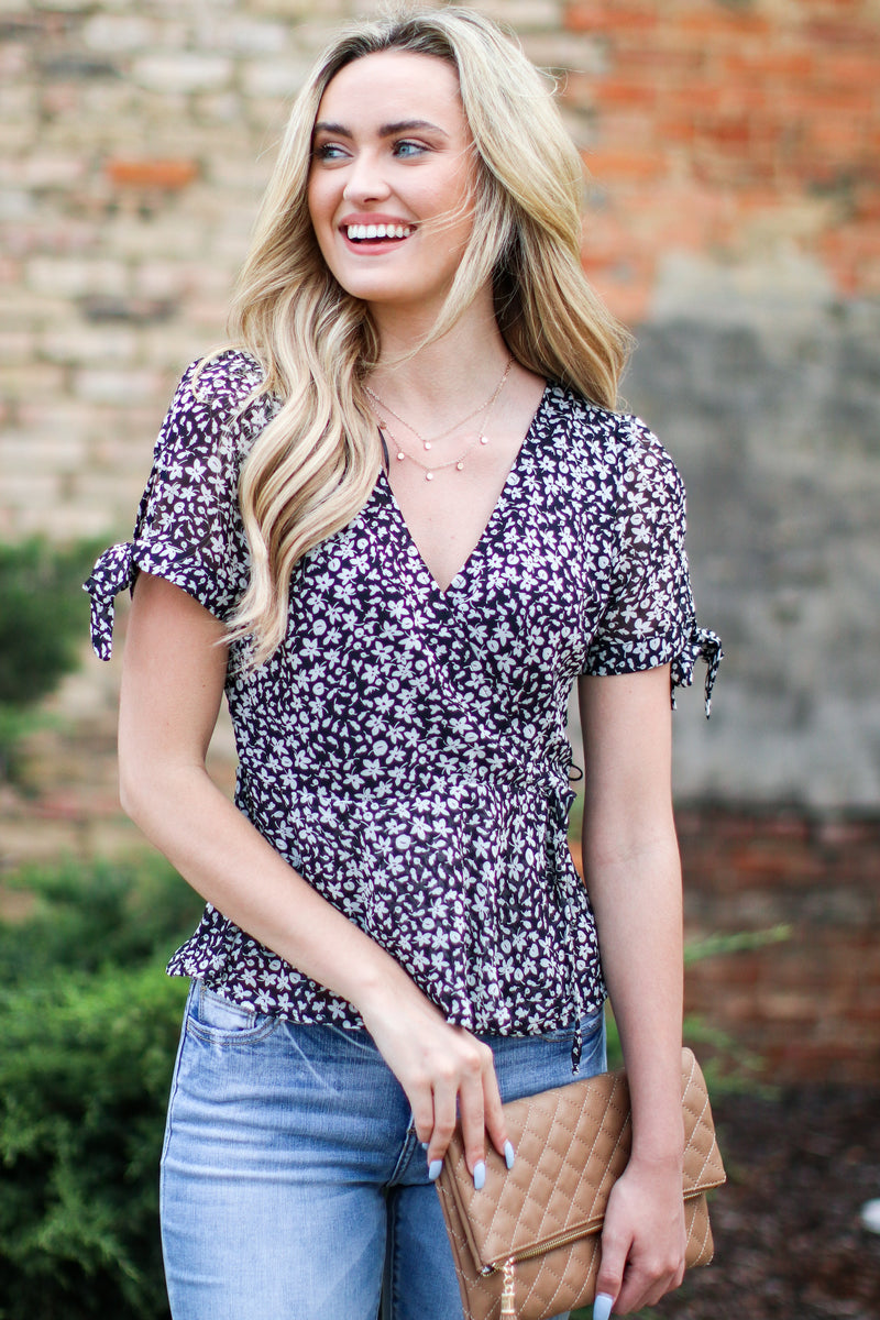 S / Black Kassia Floral Tie Sleeve Wrap Top - FINAL SALE - Madison and Mallory