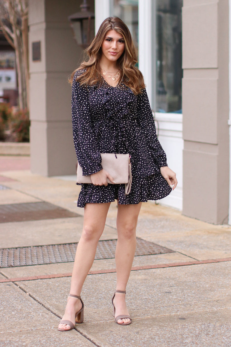 On Your Mark Polka Dot Ruffle Dress - Madison and Mallory