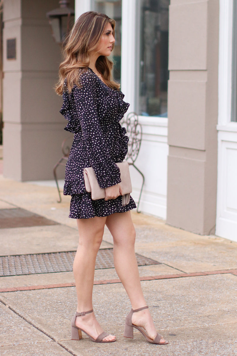 On Your Mark Polka Dot Ruffle Dress - FINAL SALE - Madison and Mallory