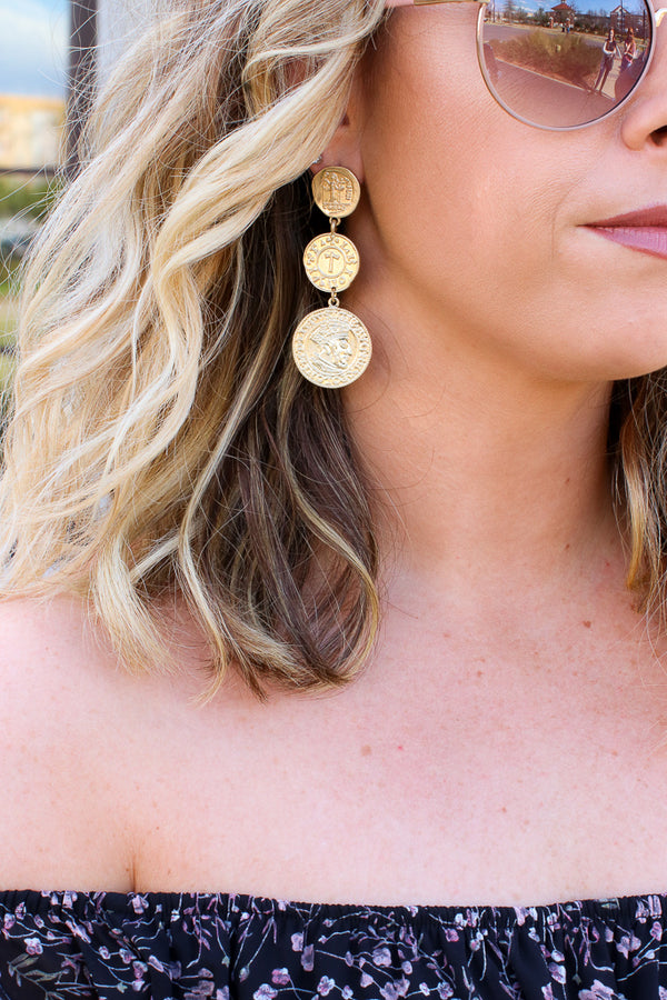 OS / Gold One Destiny Coin Dangle Earrings - Madison + Mallory