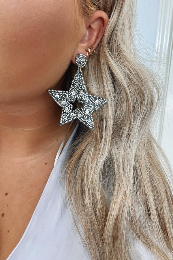 Silver Kaleidoscope Beaded Star Earrings - Madison and Mallory