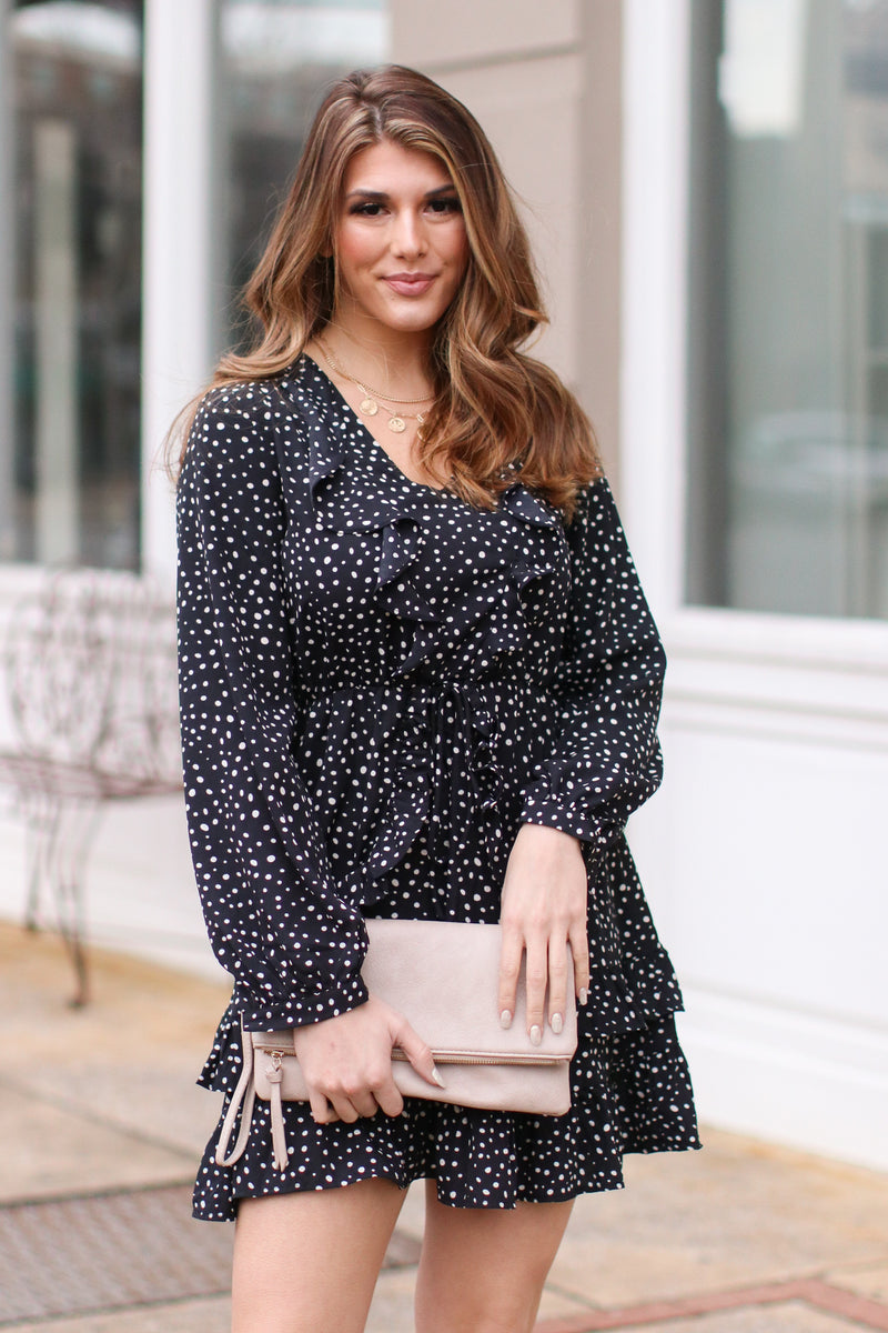S / Black On Your Mark Polka Dot Ruffle Dress - FINAL SALE - Madison and Mallory