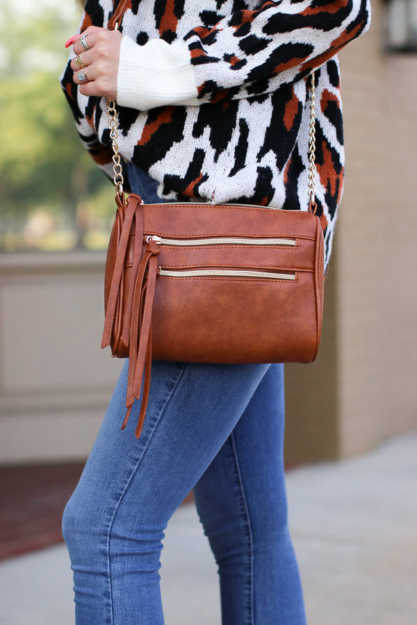 Brown Midtown Double Zip Crossbody - Brown - Madison + Mallory