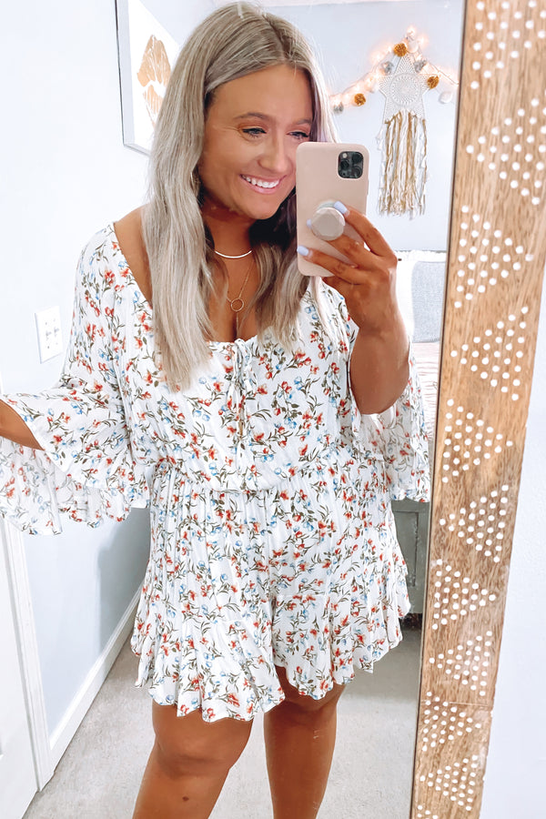 S / Off White Floral Traditions Bell Sleeve Romper - Madison and Mallory