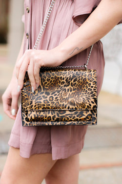 Leopard Triss Faux Snakeskin Crossbody Bag - Leopard - Madison and Mallory