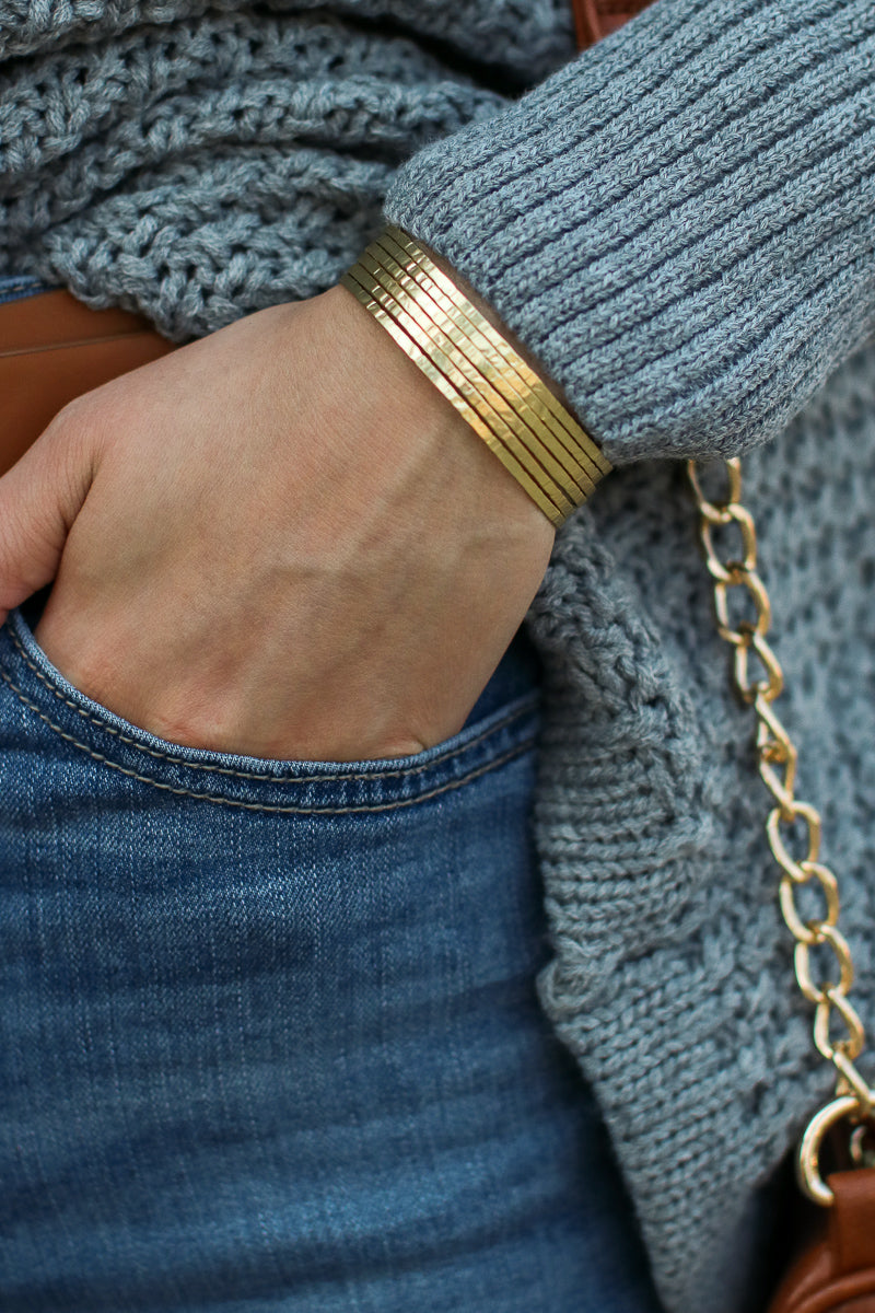 Gold At Last Matte Finish Cuff - Madison + Mallory