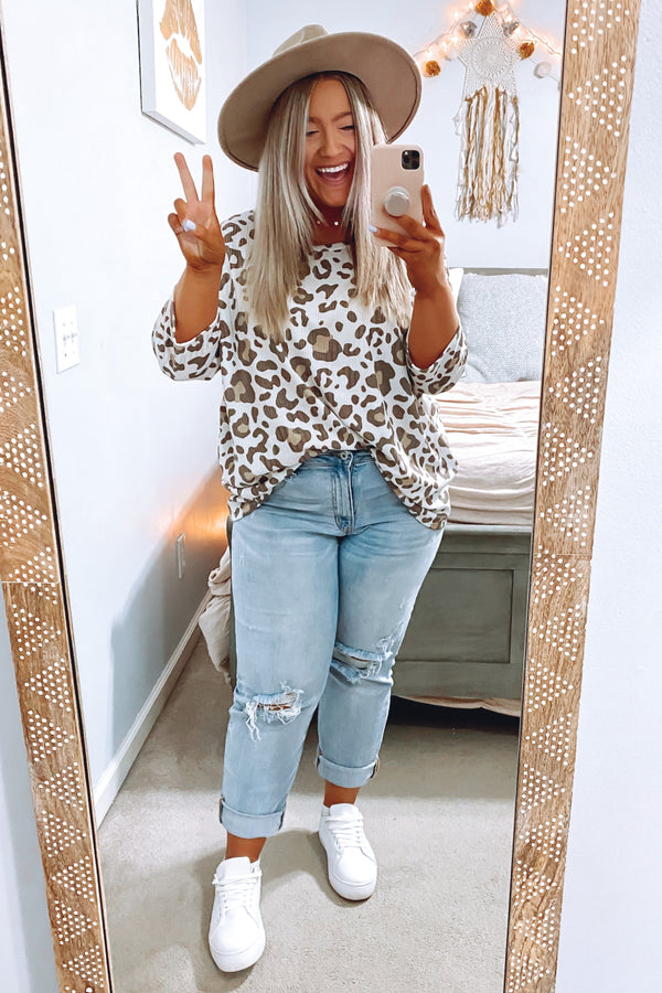 S / Taupe Orvieto Animal Print Top - Madison and Mallory