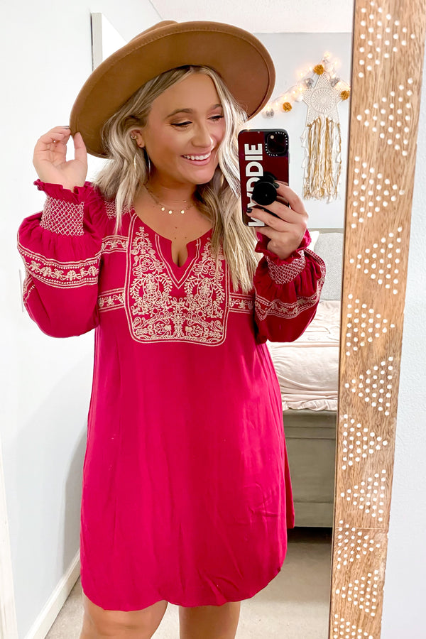 S / Burgundy Ambrie Boho Embroidered Dress - FINAL SALE - Madison and Mallory