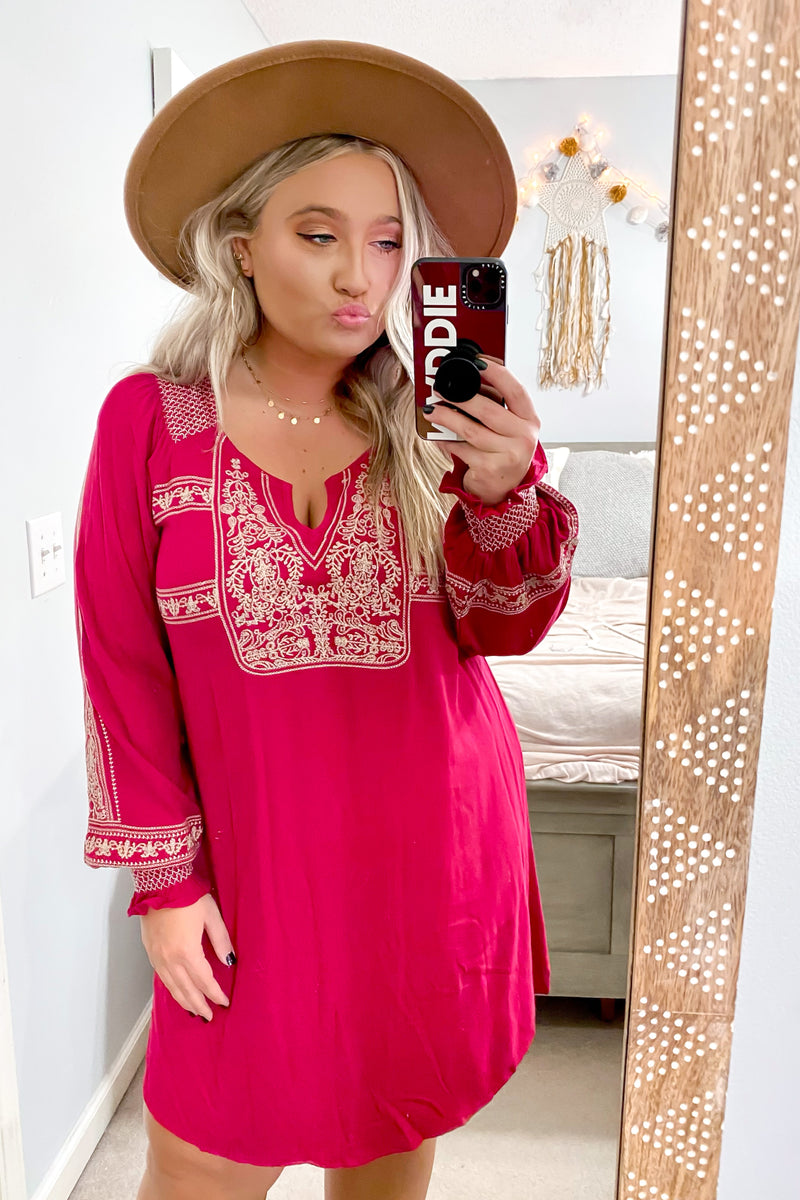 Ambrie Boho Embroidered Dress - Madison and Mallory