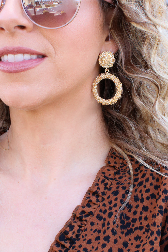OS / Gold Fantasizing Textured Hoop Drop Earrings + MORE COLORS - Madison + Mallory