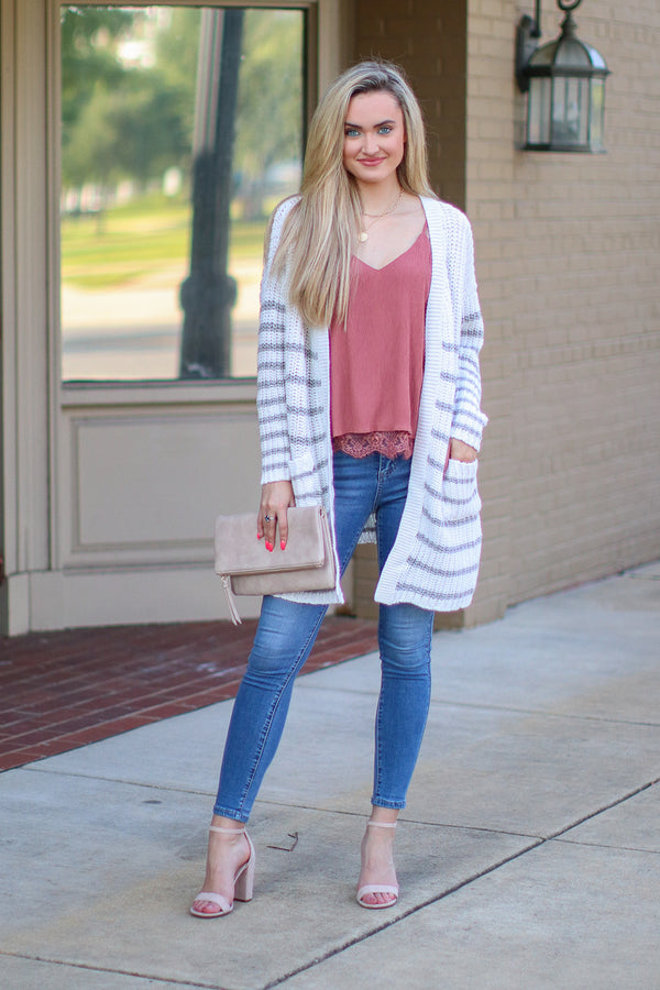 OS / Beige How Long Gone Striped Cardigan - FINAL SALE - Madison and Mallory