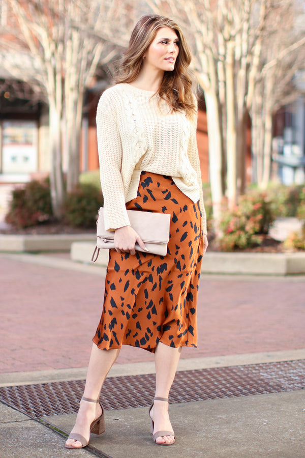 Caesar Animal Print Ruffle Hem Skirt - Cognac - Madison + Mallory