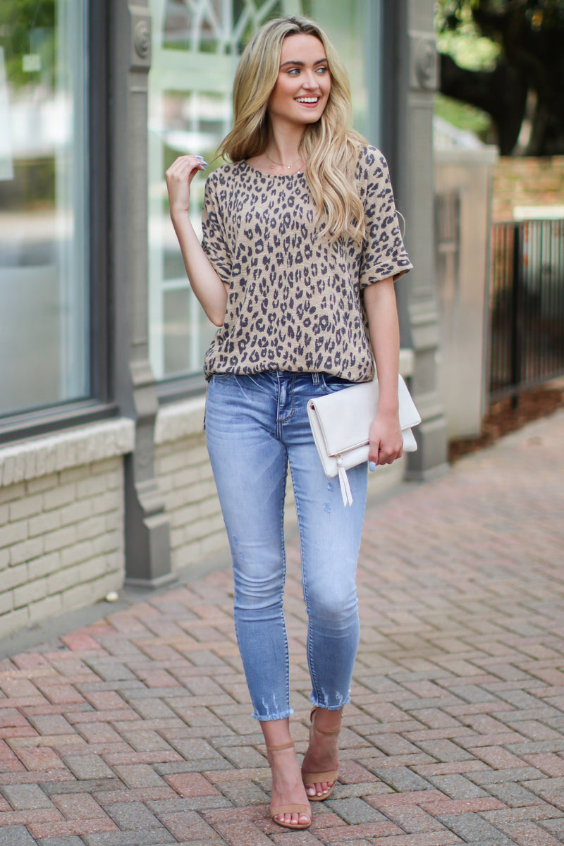 S / Taupe Downtime Animal Print Top - FINAL SALE - Madison and Mallory