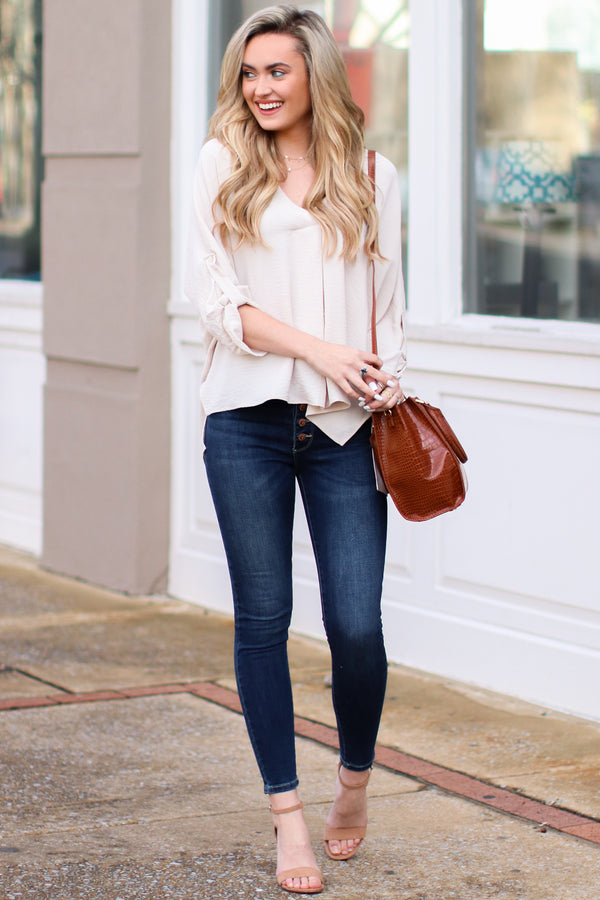 Janson V-Neck Pleated Blouse - Oatmeal - Madison + Mallory