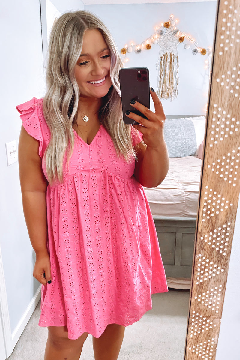 Hot Pink / S Leyla V-Neck Eyelet Dress - Hot Pink - Madison and Mallory