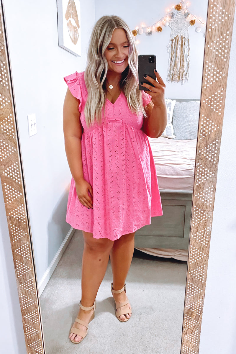 Leyla V-Neck Eyelet Dress - Hot Pink - Madison and Mallory