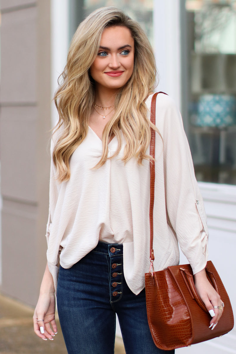 Oatmeal / S Janson V-Neck Pleated Blouse - Oatmeal - FINAL SALE - Madison and Mallory