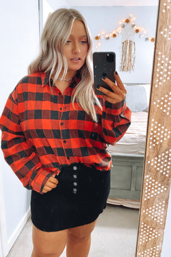 S / Red Restoration Plaid Side Stripe Top - Madison and Mallory